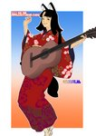 1girl 2018 absurdres acoustic_guitar animal_ears bangs black_eyes black_hair blunt_bangs blush chinese_zodiac commentary_request dog_ears dog_tail floral_print futoshi_slim gradient gradient_background guitar hands_up highres holding holding_instrument instrument japanese_clothes kimono long_sleeves looking_at_viewer medium_hair multicolored multicolored_background obi original parted_bangs red_kimono sash smile solo tail wide_sleeves year_of_the_dog