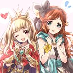 2girls :d ;d artist_name bag bangs black_dress black_hairband blonde_hair blunt_bangs blush brooch brown_hair cagliostro_(granblue_fantasy) cape clenched_hands commentary_request dress eyebrows_visible_through_hair flying_sweatdrops gauntlets gloves granblue_fantasy green_cape green_eyes hairband head_tilt headgear heart highres jewelry kuroi_mimei long_hair looking_at_viewer multiple_girls one_eye_closed open_mouth red_cape red_eyes sara_(granblue_fantasy) satchel signature smile standing swept_bangs upper_body white_dress yellow_gloves