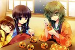 3girls :3 :d =_= absurdres black_eyes black_hair braid brown_hair carnelian chestnut_mouth drawing eyepatch food fruit green_eyes green_hair highres holding huge_filesize kantai_collection kiso_(kantai_collection) kitakami_(kantai_collection) kotatsu kuma_(kantai_collection) long_hair mandarin_orange marker multiple_girls objectification ooi_(kantai_collection) open_mouth parted_lips school_uniform serafuku single_braid smile table tama_(kantai_collection)
