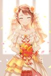 1girl ^_^ bang_dream! bangs bare_shoulders breasts bridal_veil brown_hair closed_eyes closed_mouth dress eyebrows_visible_through_hair facing_viewer flower gloves hair_flower hair_ornament hands_together holding holding_flower jewelry lunacle necklace petals short_sleeves small_breasts smile solo swept_bangs toyama_kasumi veil white_dress