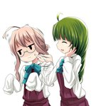 2girls ^_^ ahoge blue-framed_eyewear braid cheek_poking closed_eyes commentary_request dress ei_ei_okotta? green_hair jacket jitome kantai_collection kurona long_hair makigumo_(kantai_collection) multiple_girls open_mouth pink_hair poking purple_dress ribbon shindan_maker single_braid sleeves_past_fingers sleeves_past_wrists smile yuugumo_(kantai_collection)