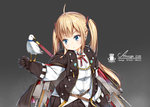 amazon_(bilan_hangxian) bilan_hangxian bird blonde_hair blue_eyes cape character_name emblem gloves highres military military_uniform rigging solo twintails uniform yakumo_ling