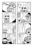 +++ 2girls 4koma :< :> :o apple_inc. bangs bkub blank_eyes blazer blush box closed_eyes comic costume crossed_arms earbuds earphones eyebrows_visible_through_hair greyscale hair_ornament hairclip hand_on_own_cheek highres holding holding_box holding_phone jacket jumping kurei_kei monochrome multiple_girls necktie phone programming_live_broadcast pronama-chan radio shaded_face shaking shirt short_hair simple_background skeleton_costume smile speech_bubble surprised sweatdrop talking translation_request twintails two-tone_background undone_necktie vampire_costume wall_crash