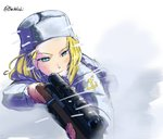 1girl aiming blizzard blonde_hair blue_eyes buchikaki clara_(girls_und_panzer) closed_mouth commentary emblem fur_hat girls_und_panzer grey_headwear gun hat holding holding_gun holding_weapon light_smile long_hair long_sleeves pravda_(emblem) rifle scope snow solo twitter_username ushanka weapon white_coat wind