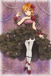 1girl aizen_(syoshiyuki) black_dress blonde_hair bow brown_eyes brown_hair choker closed_mouth collarbone crop_top dress earrings flower full_body futari_wa_precure hair_between_eyes hair_bow hair_flower hair_ornament head_tilt highres jewelry layered_dress lolita_fashion looking_at_viewer midriff misumi_nagisa navel pantyhose parted_lips pink_bow pink_lips precure pumps red_flower red_footwear shiny shiny_hair short_hair simple_background sleeveless sleeveless_dress solo standing stomach strapless strapless_dress white_background white_legwear wrist_cuffs yellow_eyes