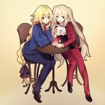 2girls :d black_ribbon black_vest blonde_hair blue_eyes blue_jacket blue_pants blue_suit braid brown_footwear chair chin_rest cosplay cravat cup eyebrows_visible_through_hair fate/apocrypha fate/grand_order fate_(series) formal gyakuten_saiban hair_ribbon hand_on_own_chin highres holding holding_cup jacket jeanne_d'arc_(fate) jeanne_d'arc_(fate)_(all) long_braid long_hair marie_antoinette_(fate/grand_order) mitsurugi_reiji mitsurugi_reiji_(cosplay) multiple_girls naruhodou_ryuuichi naruhodou_ryuuichi_(cosplay) necktie no-kan open_clothes open_jacket open_mouth pants purple_eyes red_jacket red_neckwear red_pants red_suit ribbon shoes silver_hair simple_background sitting smile suit suit_jacket table teacup twintails vest white_neckwear yellow_background