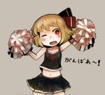1girl blonde_hair cheerleader hair_ribbon midriff nagomibako_(nagomi-99) navel one_eye_closed open_mouth pom_poms red_eyes red_ribbon ribbon rumia short_hair skirt solo touhou translation_request