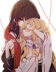 2girls bangs blonde_hair brown_hair detached_collar detached_sleeves eyebrows_visible_through_hair hair_over_one_eye hair_tubes hakurei_reimu hug hug_from_behind kirisame_marisa long_hair looking_at_viewer multiple_girls piyokichi red_eyes red_string ribbon-trimmed_sleeves ribbon_trim solo string touhou upper_body wavy_mouth white_background wide_sleeves yuri