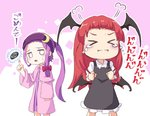 2girls =3 >_< alternate_hairstyle bangs black_dress black_wings blunt_bangs bow capelet chibi collared_shirt commentary_request crescent crescent_hair_ornament demon_wings dress forehead hair_bow hair_ornament head_wings headband index_finger_raised koakuma long_hair long_sleeves multiple_girls mumyuu patchouli_knowledge ponytail purple_capelet purple_dress purple_hair purple_headband red_bow red_hair shirt short_dress striped striped_dress sweatdrop tears touhou white_shirt wing_collar wings