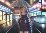 1girl abigail_williams_(fate/grand_order) bangs black_bow black_jacket blonde_hair bow car closed_mouth commentary crossed_bandaids english_commentary fate/grand_order fate_(series) ground_vehicle hair_bow hair_bun heroic_spirit_traveling_outfit holding holding_umbrella jacket long_hair long_sleeves looking_at_viewer motor_vehicle multiple_hair_bows neon_lights night orange_bow outdoors parted_bangs purple_eyes rain road sleeves_past_fingers sleeves_past_wrists solo_focus standing star street transparent transparent_umbrella umbrella yaxiya
