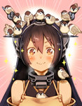1girl animal animal_on_head apron bare_shoulders bird bird_on_head black_hair blush brown_eyes closed_mouth commentary_request eurasian_tree_sparrow face gayarou hair_between_eyes headgear kantai_collection long_hair looking_at_viewer nagato_(kantai_collection) on_head smile solo sparkle sparrow wavy_mouth