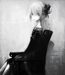 1girl grey hair_ribbon looking_at_viewer monochrome original portrait ribbon sitting solo toi_(number8)
