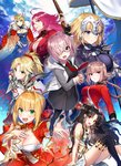 6+girls :d ahoge armor artoria_pendragon_(all) artoria_pendragon_(lancer) bangs between_breasts black-framed_eyewear black_dress black_legwear blazer blonde_hair blue_eyes blush braid breasts chain cleavage cloak closed_mouth commentary_request crown dress fate/grand_order fate_(series) florence_nightingale_(fate/grand_order) fur_trim gauntlets glasses gloves green_eyes grin gun hair_intakes hair_ornament hair_over_one_eye hair_scrunchie hand_in_hair hand_on_own_chest headpiece holding holding_gun holding_weapon hood hoodie ishtar_(fate/grand_order) jacket juliet_sleeves large_breasts long_hair long_sleeves mash_kyrielight medium_breasts military military_uniform mordred_(fate) mordred_(fate)_(all) multiple_girls nero_claudius_(fate) nero_claudius_(fate)_(all) open_blazer open_clothes open_hoodie open_jacket open_mouth outstretched_hand pantyhose parted_bangs parted_lips pink_hair ponytail puffy_sleeves purple_eyes purple_hair red_dress rider_(fate/extra) scrunchie shiny shiny_hair shirako_miso short_dress sidelocks silver_hair single_thighhigh sitting smile standard_bearer standing strap_cleavage teeth thighhighs toosaka_rin tsurime under-rim_eyewear uniform weapon white_gloves