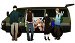 1girl 3boys animal_ears bad_id bad_pixiv_id bag black_hair blonde_hair brown_hair car cat_ears company_connection crossover dengeki_bunko durarara!! ground_vehicle hat itasha kadota_kyouhei karisawa_erika long_hair motor_vehicle multiple_boys nogizaka_haruka nogizaka_haruka_no_himitsu short_hair simple_background togusa_saburou tsuyuxxx vest yumasaki_walker