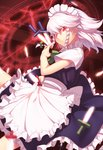 1girl >:( apron bangs blue_dress bow braid clock commentary_request cowboy_shot dress eyebrows_visible_through_hair frilled_apron frills green_bow green_neckwear green_ribbon hair_between_eyes hair_bow holding holding_knife holding_weapon izayoi_sakuya kaiza_(rider000) knife knives_between_fingers looking_at_viewer maid maid_apron maid_headdress neck_ribbon petticoat red_eyes ribbon short_hair short_sleeves silver_hair solo touhou twin_braids v-shaped_eyebrows waist_apron weapon white_apron