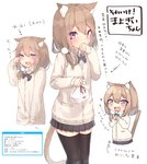 1girl :d absurdres animal_ears black_legwear bow bowtie cat_ears cat_tail commentary_request crying crying_with_eyes_open d: embarrassed fang highres light_brown_hair long_hair long_sleeves looking_at_viewer mayogii multiple_views open_mouth original shindan_maker smile sweater tail tears thighhighs translation_request zettai_ryouiki