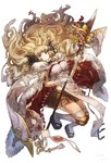 1girl anila_(granblue_fantasy) benitama black_skirt blonde_hair breasts cape cleavage draph full_body fur_trim granblue_fantasy holding holding_weapon horns large_breasts long_hair miniskirt naginata over-kneehighs platform_footwear pleated_skirt polearm sandals sheep_horns simple_background skirt smile solo thighhighs very_long_hair wavy_hair weapon white_background white_legwear