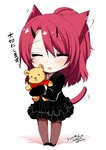 1girl :d =_= animal_ears black_dress blush chibi closed_eyes commentary_request dated dress ear_wiggle full_body holding horns konshin long_sleeves open_mouth original pantyhose ponytail red_hair signature smile solo standing stuffed_animal stuffed_toy tail teddy_bear
