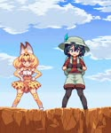 3girls animal_ears animated backpack bag black_hair blonde_hair blue_eyes cliff cloud commentary_request crested_ibis_(kemono_friends) day exercise feathers flying gloves hat holding kaban kemono_friends looping md5_mismatch migel_futoshi monster_girl multiple_girls pantyhose pink_hair pixel_art scared serval_(kemono_friends) serval_ears short_hair skirt sky thighhighs webm yellow_eyes