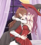 2girls :3 bat_hair_ornament blue_eyes blush braid brown_hair cape crescent curtains dress elbow_gloves fangs gloves hair_ornament hat hitsuji_nata hug ichinose_shiki idolmaster idolmaster_cinderella_girls incipient_kiss long_hair long_sleeves looking_at_another moon multiple_girls nitta_minami open_mouth purple_hair red_eyes sleeveless sleeveless_dress star_(sky) strapless strapless_dress sweat thighhighs translation_request vampire_costume white_gloves white_legwear window witch_hat yuri