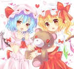 2girls artist_name ascot bangs bat_wings blonde_hair blue_hair blue_nails blush bow commentary_request cowboy_shot crystal dress eyebrows_visible_through_hair fang flandre_scarlet frilled_bow frilled_ribbon frilled_shirt_collar frills hair_between_eyes hands_up hat hat_bow hat_ribbon head_tilt heart heart-shaped_pupils highres holding holding_stuffed_animal looking_at_viewer mob_cap multiple_girls nail_polish one_side_up open_mouth pink_dress pink_hat puffy_short_sleeves puffy_sleeves ramudia_(lamyun) red_bow red_eyes red_nails red_neckwear red_ribbon red_skirt red_vest remilia_scarlet ribbon ribbon-trimmed_bow ribbon_trim short_hair short_sleeves siblings simple_background sisters skirt skirt_set standing stuffed_animal stuffed_toy symbol-shaped_pupils teddy_bear touhou twitter_username vest white_background white_hat wings wrist_cuffs