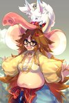 1girl black-framed_eyewear breasts brown_eyes brown_hair cis05 commentary_request fate/extra fate/extra_ccc fate/grand_order fate_(series) fou_(fate/grand_order) ganesha_(fate) glasses grey_background jewelry jinako_carigiri large_breasts long_hair messy_hair open_mouth pants plump ring simple_background solo
