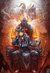 1boy absurdres armor brown_footwear closed_mouth coat collar commentary commission english_commentary fire grey_eyes grey_hair grey_pants hand_up highres knight legs_apart long_sleeves looking_at_viewer male_focus original pants sa-dui signature sitting skull solo spiked_collar spikes sword throne weapon wolf