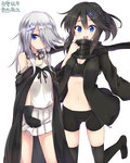 2girls :d amano_kouki bangs bare_shoulders bike_shorts black_bra black_cape black_gloves black_hair black_hoodie black_scarf black_shorts blue_eyes blush borrowed_character bra breasts camisole cape character_request cleavage eyebrows_visible_through_hair gloves goggles goggles_around_neck groin hair_between_eyes hair_ornament hair_over_one_eye hairclip highres hood hoodie long_hair long_sleeves looking_at_viewer medium_breasts midriff multiple_girls navel open_clothes open_hoodie open_mouth original pleated_skirt scarf shorts simple_background skirt smile strap_slip training_bra translation_request underwear white_background white_camisole white_skirt