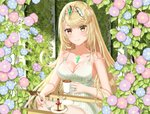 1girl 647531835 alternate_costume bangs blonde_hair breasts cake cleavage closed_mouth dress eyebrows_visible_through_hair flower food gem hair_ornament headpiece highres hikari_(xenoblade_2) jewelry long_hair looking_at_viewer morning_glory plant smile solo summer sundress swept_bangs table tiara very_long_hair xenoblade_(series) xenoblade_2