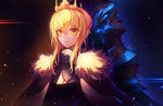 1girl armor artoria_pendragon_(all) artoria_pendragon_(lancer) aura bangs black_background blonde_hair breastplate closed_mouth commentary crown expressionless eyebrows_visible_through_hair fate/grand_order fate_(series) full_armor fur-trimmed_cloak glowing glowing_eye hair_between_eyes hair_bun helmet highres inho_song light_trail looking_at_viewer multiple_views serious short_hair sidelocks upper_body white_cloak yellow_eyes