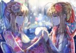 2girls ahoge artoria_pendragon_(all) blonde_hair blue_bow blue_flower bow eye_contact fate/stay_night fate_(series) flower gloves green_eyes hair_bow hair_flower hair_ornament hair_ribbon hairclip japanese_clothes kimono long_hair looking_at_another multiple_girls nikek96 obi red_flower red_ribbon red_scarf ribbon saber sash scarf snowflakes tears upper_body white_gloves yukata