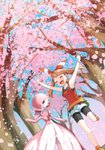 1girl :d absurdres armpits arms_up bike_shorts black_shorts blue_sky bracelet brown_hair cherry_blossoms closed_eyes collarbone day floating_hair from_below gardevoir hair_ribbon hairband haruka_(pokemon) highres jewelry long_hair one_eye_closed open_mouth outdoors pokemon pokemon_(game) pokemon_oras red_hairband red_shirt ribbon shirt short_shorts shorts shorts_under_shorts sky sleeveless sleeveless_shirt smile solo standing standing_on_one_leg striped striped_ribbon tree twintails white_shorts yuihiko
