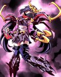 1girl armor ayame_(gundam_build_divers) bangs boots claw_(weapon) clawed_gauntlets commentary_request elbow_gloves face_mask fingerless_gloves gauntlets gloves gundam gundam_build_divers hair_ornament highres ishiyumi japanese_clothes kimono knee_boots leg_armor long_hair low_ponytail mask ninja ninja_mask purple_eyes purple_hair red_scarf rx-zeromaru scarf short_kimono shoulder_armor sidelocks single_tear solo split_ponytail sweat tears thighhighs_under_boots very_long_hair weapon