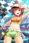 ahoge alternative_girls armpits bangs belt bow bracelet braid breasts brown_hair car cleavage cloud cloudy_sky collarbone confetti cowboy_shot cropped_jacket day flag green_shorts ground_vehicle hair_bow highres holding holding_flag jewelry looking_at_viewer motor_vehicle navel necklace official_art one_eye_closed open_mouth outdoors race_queen red_bow short_hair shorts single_braid sky small_breasts smile standing sweatdrop yellow_eyes yuuki_miyaka