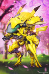 1girl adapted_costume against_mecha ayya_saparniyazova blurry blurry_background blush_stickers bodysuit breasts brown_hair cherry_blossoms cosplay d.va_(overwatch) facial_mark gen_1_pokemon gun high_heels holding holding_poke_ball leaning_on_object long_hair looking_at_viewer mecha medium_breasts meka_(overwatch) overwatch petals pikachu pikachu_(cosplay) pilot_suit poke_ball pokemon smile solo standing weapon whisker_markings yellow_bodysuit