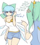 (9) 2girls alternate_costume anger_vein bare_shoulders blue_eyes blue_hair bow breasts camisole casual cirno cleavage collarbone commentary contemporary daiyousei english flower green_bow green_hair hair_bow hair_ribbon hater_(hatater) ice ice_wings long_hair looking_at_another medium_breasts multiple_girls older pointing pointy_ears puffy_short_sleeves puffy_sleeves ribbon short_hair short_shorts short_sleeves shorts side_ponytail simple_background sunflower touhou typo white_background wings