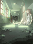 1girl artist_name bandage_on_face bandages barefoot broken_glass closed_eyes door glass hallway highres light lm_(linmiu39) long_hair off_shoulder on_floor original pink_hair plant rubble ruins shirt shorts signature silhouette sitting solo vines white_shirt window