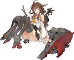 1girl ahoge bare_shoulders black_legwear blush boots breasts brown_hair cannon detached_sleeves double_bun frilled_skirt frills frown full_body hair_ornament hairband headgear high_heels japanese_clothes kantai_collection kongou_(kantai_collection) konishi_(koconatu) large_breasts long_hair no_bra nontraditional_miko official_art open_mouth panties remodel_(kantai_collection) ribbon ribbon-trimmed_sleeves ribbon_trim sash skirt solo source_request thigh_boots thighhighs torn_clothes torn_legwear torpedo_launcher transparent_background turret underwear white_panties wreckage zettai_ryouiki