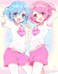 1boy 1girl :d alice-whiteberry arm_up blue_eyes blue_hair blush bra_strap braid brother_and_sister clothes_writing copyright_name dorothy_west heart heart_print highres holding_hands leona_west looking_at_viewer mole mole_under_eye open_mouth pink_eyes pink_hair pink_shorts print_shirt pripara shirt short_hair short_sleeves shorts siblings side_braid smile sparkle t-shirt tied_shirt twins v-shaped_eyebrows white_shirt