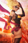 1girl america ass black_gloves black_legwear blonde_hair blue_eyes breasts carol_danvers city domino_mask elbow_gloves eyeshadow fire flag gloves large_breasts leotard lips long_hair looking_back makeup marvel mask ms._marvel new_york parted_lips revision sash solo stanley_lau superhero thighhighs