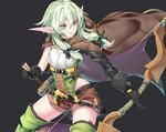 1girl arrow asymmetrical_sleeves black_background black_bow black_gloves boots bow bow_(weapon) brown_shorts cloak cowboy_shot elf gloves goblin_slayer! green_eyes green_hair hair_bow high_elf_archer_(goblin_slayer!) holding holding_weapon hood hooded_cloak kaiend looking_to_the_side pink_lips pointy_ears shorts sidelocks simple_background sleeveless smile solo thigh_boots thighhighs weapon