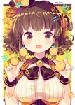 1girl :d absurdres bangs bare_shoulders blue_bow blush bow breasts brown_eyes brown_hair brown_headwear center_frills commentary_request earrings eyebrows_visible_through_hair food food_themed_earrings frills fruit hair_bow hair_ornament hair_ribbon hairclip hat highres holding holding_food ikari_(aor3507) jewelry large_breasts looking_at_viewer one_side_up open_mouth orange orange_ribbon orange_slice original ribbon smile solo tilted_headwear twitter_username underbust upper_body wrist_cuffs