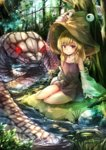 1girl bare_legs bare_shoulders blonde_hair brown_eyes brown_hat detached_sleeves full_body hair_ribbon hat highres kushidama_minaka long_hair looking_at_viewer miniskirt mishaguji moriya_suwako nature outdoors purple_skirt red_eyes red_ribbon ribbon sitting skirt skirt_set smile snake solo touhou tress_ribbon white_snake yokozuwari