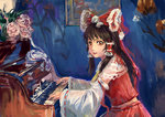 1girl amibazh black_hair bow brown_eyes commentary detached_sleeves faux_traditional_media fine_art_parody flower hair_bow hair_tubes hakurei_reimu indoors instrument lace long_hair looking_at_viewer looking_to_the_side midriff music parody piano picture_(object) playing_instrument playing_piano rose sidelocks smile solo touhou