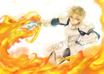 1boy armor blonde_hair fate/extra fate_(series) faulds fire gauntlets gawain_(fate/extra) male_focus pauldrons short_hair solo sword urako weapon