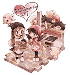 2017 2girls 5boys :d atom_(@tom) black_hair blue_(pokemon) blue_eyes breasts cake chocolate_cake creature crystal_(pokemon) dress earrings emerald_(pokemon) food gen_1_pokemon gen_2_pokemon gold_(pokemon) green_eyes heart holding holding_tray jewelry jigglypuff light_brown_hair long_hair multiple_boys multiple_girls ookido_green open_mouth pokemon pokemon_(creature) pokemon_special red_(pokemon) silver_(pokemon) sink small_breasts smile smoochum spiked_hair standing star star_earrings tray twintails valentine