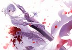 1girl asymmetrical_bangs bangs blood bloody_clothes breasts commentary dress expressionless eyebrows_visible_through_hair eyes_visible_through_hair flower gloves grey_eyes hair_ornament head_tilt highres looking_at_viewer medium_breasts parted_lips petals rose sinoalice snow_white_(sinoalice) sword torn_clothes weapon white_dress white_hair yoggi_(stretchmen)