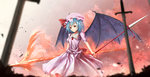 1girl :o bat_wings blue_hair blurry brooch commentary_request cowboy_shot depth_of_field dual_wielding hat hat_ribbon highres jewelry looking_at_viewer mob_cap pink_shirt pink_skirt planted_sword planted_weapon polearm puffy_short_sleeves puffy_sleeves red_eyes red_ribbon remilia_scarlet ribbon shirt short_hair short_sleeves sinkai skirt skirt_set solo spear spear_the_gungnir sword touhou weapon wings