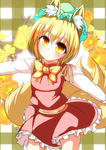 1girl animal_ears blonde_hair bow chen chen_(cosplay) commentary_request cosplay flower fox_ears fox_tail hat long_sleeves looking_at_viewer merry_(diameri) midriff multiple_tails outstretched_arms shirt skirt skirt_set smile solo tail touhou vest yakumo_ran yellow_eyes younger