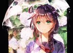 1girl ahoge braid brown_hair closed_mouth commentary_request fingerless_gloves floral_background flower gloves green_eyes hair_between_eyes hair_flaps hair_ornament holding holding_umbrella hydrangea kantai_collection rain remodel_(kantai_collection) rioka_(southern_blue_sky) shigure_(kantai_collection) single_braid smile solo transparent transparent_umbrella umbrella upper_body